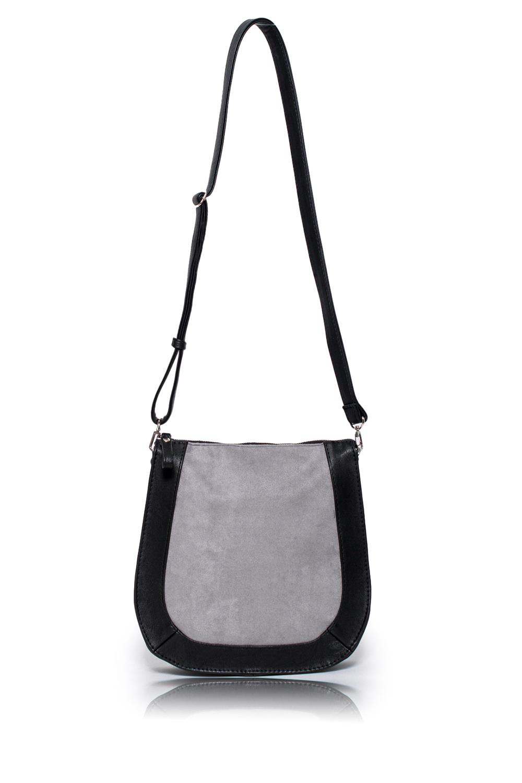 СумкаКлассические<br>Женские сумки бренда DINESSI - это стильные аксессуары, которые по достоинству оценят представительницы прекрасного пола.  Сумка с застежкой на молнию и длинной, регулируемой лямкой. Внутри два накладных кармана и карман на молнии.  Цвет: черный с серой вставкой.  Размеры: Высота - 26 ± 1 см Длина - 26 ± 1 см Ширина - 6,5 ± 1 см<br><br>По материалу: Замша,Искусственная кожа<br>По размеру: Средние<br>По рисунку: Цветные<br>По способу ношения: В руках,На плечо,Через плечо<br>По степени жесткости: Мягкие<br>По типу застежки: С застежкой молнией<br>По элементам: Карман на молнии,Карман под телефон,С декором,С ремнями<br>Ручки: Длинные,Регулируемые<br>По форме: Полукруглые<br>Размер : UNI<br>Материал: Искусственная кожа + Искусственная замша<br>Количество в наличии: 1