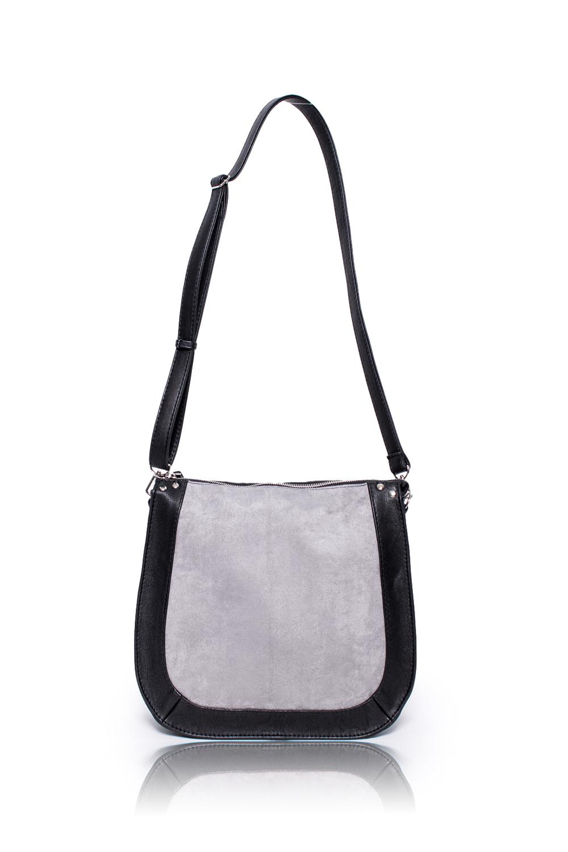 СумкаКлассические<br>Женские сумки бренда DINESSI - это стильные аксессуары, которые по достоинству оценят представительницы прекрасного пола.  Сумка с застежкой на молнию и длинной, регулируемой лямкой. Внутри два накладных кармана и карман на молнии.  Цвет: черный с серой вставкой.  Размеры: Высота - 29,5 ± 1 см Длина - 27 ± 1 см Ширина - 10,5 ± 1 см<br><br>По материалу: Замша,Искусственная кожа<br>По размеру: Средние<br>По рисунку: Цветные<br>По способу ношения: В руках,На плечо,Через плечо<br>По степени жесткости: Мягкие<br>По типу застежки: С застежкой молнией<br>По элементам: Карман на молнии,Карман под телефон,С декором,С ремнями<br>Ручки: Длинные,Регулируемые<br>По форме: Полукруглые<br>Размер : UNI<br>Материал: Искусственная кожа + Искусственная замша<br>Количество в наличии: 1