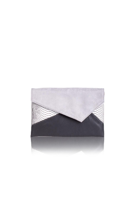 КлатчКлатчи<br>Женские сумки бренда DINESSI - это стильные аксессуары, которые по достоинству оценят представительницы прекрасного пола.  Клатч с клапаном и застежкой на магнит. Внутри два накладных кармана и карман на молнии.   Цвет: черный, серый.  Размеры: 30,5 * 20,5 * 1,5 ± 1 см<br><br>Отделения: 1 отделение<br>По материалу: Замша,Искусственная кожа<br>По образу: Город,Клуб,Торжество<br>По размеру: Средние<br>По рисунку: Цветные,Рептилия<br>По силуэту стенок: Прямоугольные<br>По способу ношения: В руках<br>По степени жесткости: Мягкие<br>По типу застежки: На магните<br>По форме: Конверт<br>По элементам: Карман на молнии,Карман под телефон<br>Размер : UNI<br>Материал: Искусственная кожа + Искусственная замша<br>Количество в наличии: 1