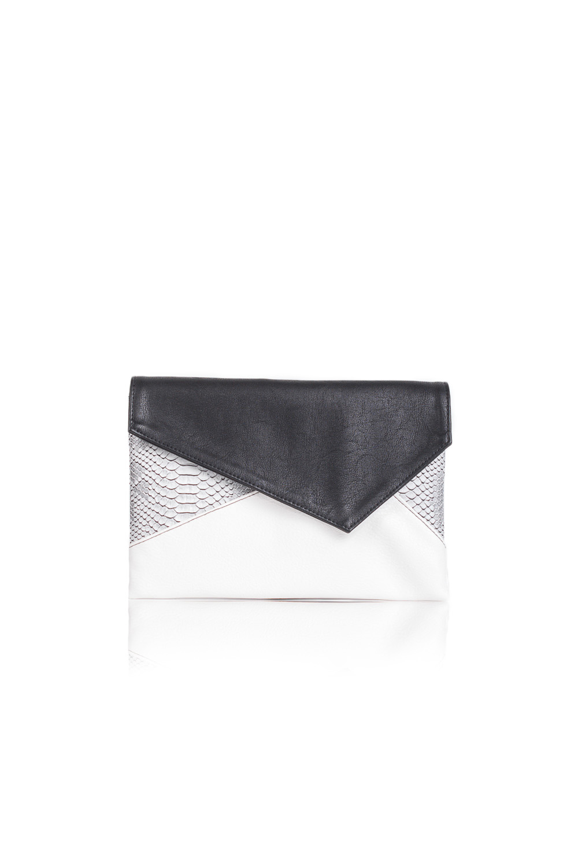КлатчКлатчи<br>Женские сумки бренда DINESSI - это стильные аксессуары, которые по достоинству оценят представительницы прекрасного пола.  Клатч с клапаном и застежкой на магнит. Внутри два накладных кармана и карман на молнии.  Подклад может отличаться от представленного на фото.  В изделии использованы цвета: черный, серый, белый.  Размеры: 30,5 * 20,5 * 1,5 ± 1 см<br><br>Отделения: 1 отделение<br>По материалу: Замша,Искусственная кожа<br>По размеру: Средние<br>По рисунку: Рептилия,Цветные<br>По способу ношения: В руках<br>По степени жесткости: Мягкие<br>По типу застежки: На магните<br>По элементам: Карман на молнии,Карман под телефон<br>По стилю: Повседневный стиль,Нарядный стиль<br>По форме: Прямоугольные<br>Размер : UNI<br>Материал: Искусственная кожа + Искусственная замша<br>Количество в наличии: 1
