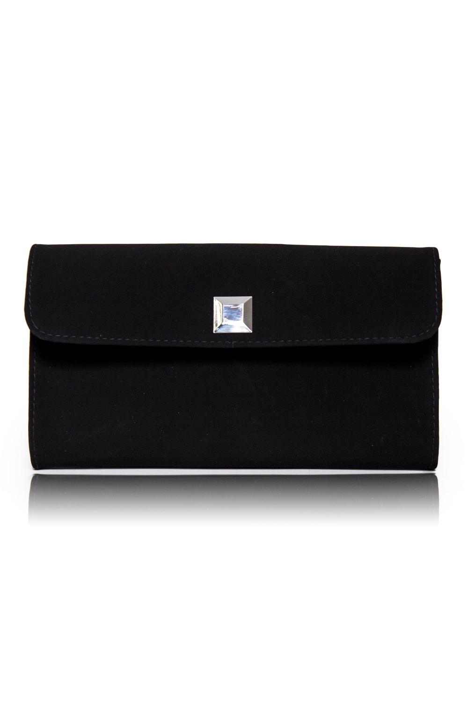 КлатчКлатчи<br>Женские сумки бренда DINESSI - это стильные аксессуары, которые по достоинству оценят представительницы прекрасного пола.  Клатч с клапаном и застежкой на магнит. Внутри карман на молнии.   Цвет: черный.  Размеры: 26 * 15,5 * 5 ± 1 см<br><br>Отделения: 1 отделение<br>По материалу: Искусственная кожа<br>По размеру: Средние<br>По рисунку: Однотонные<br>По способу ношения: В руках<br>По степени жесткости: Полужесткие<br>По типу застежки: На магните<br>По элементам: Карман на молнии,Карман под телефон,С декором,С отделочной фурнитурой<br>По стилю: Повседневный стиль,Нарядный стиль<br>По форме: Прямоугольные<br>Размер : UNI<br>Материал: Искусственная кожа + Нубук<br>Количество в наличии: 2