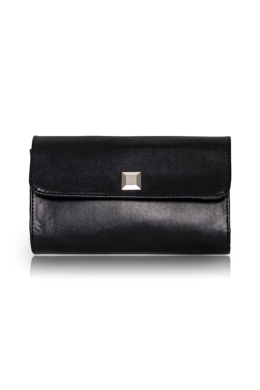КлатчКлатчи<br>Женские сумки бренда DINESSI - это стильные аксессуары, которые по достоинству оценят представительницы прекрасного пола.  Клатч с клапаном и застежкой на магнит. Внутри карман на молнии.   Цвет: черный.  Размеры: 26 * 15,5 * 5 ± 1 см<br><br>Отделения: 1 отделение<br>По материалу: Искусственная кожа<br>По размеру: Средние<br>По рисунку: Однотонные<br>По способу ношения: В руках<br>По степени жесткости: Полужесткие<br>По стилю: Нарядный стиль,Повседневный стиль<br>По типу застежки: На магните<br>По форме: Прямоугольные<br>По элементам: Карман на молнии,Карман под телефон,С декором,С отделочной фурнитурой<br>Размер : UNI<br>Материал: Искусственная кожа<br>Количество в наличии: 1