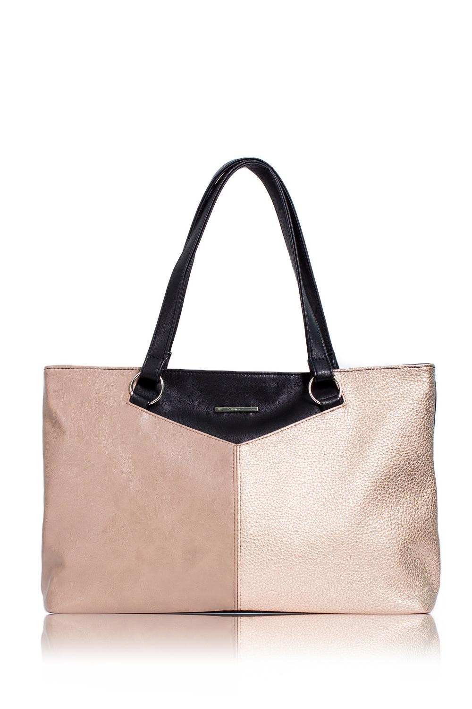 СумкаКлассические<br>Женские сумки бренда DINESSI - это стильные аксессуары, которые по достоинству оценят представительницы прекрасного пола.  Сумка с застежкой на молнию и двумя короткими ручками. На задней части сумки карман на молнии. Внутри два накладных кармана и карман на молнии.  В изделии использованы цвета: бежевый, золотой, черный.  Подклад может отличаться от представленного на фото.  Размеры: Высота - 26 ± 1 см Длина - 41 ± 1 см Ширина - 12 ± 1 см Длина ручек - 50 ± 1 см<br><br>По материалу: Искусственная кожа<br>По размеру: Средние<br>По рисунку: Однотонные<br>По силуэту стенок: Прямоугольные<br>По способу ношения: В руках,На запастье,На плечо<br>По степени жесткости: Мягкие<br>По типу застежки: С застежкой молнией<br>По элементам: Карман на молнии,Карман под телефон,С декором<br>Ручки: Короткие<br>Размер : UNI<br>Материал: Искусственная кожа<br>Количество в наличии: 1