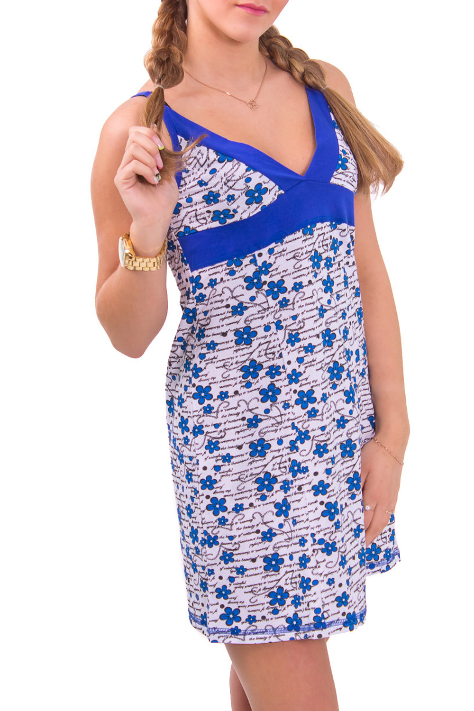 СорочкаНочные сорочки<br>Женская сорочка без рукавов. Домашняя одежда, прежде всего, должна быть удобной, практичной и красивой. В сорочке Вы будете чувствовать себя комфортно, особенно, по вечерам после трудового дня.  Цвет: белый с синим  Рост девушки-фотомодели 164 см<br><br>Горловина: V- горловина<br>По рисунку: Растительные мотивы,Цветные,Цветочные,С принтом<br>По силуэту: Свободные<br>По форме: Сорочки<br>По элементам: Без рукавов<br>По сезону: Лето<br>По длине: До колена<br>По материалу: Хлопок<br>По стилю: Повседневный стиль<br>Размер : 42,44<br>Материал: Хлопок<br>Количество в наличии: 2