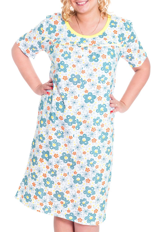 СорочкаНочные сорочки<br>Классическая сорочка с круглой горловиной и короткими рукавами. Домашняя одежда, прежде всего, должна быть удобной, практичной и красивой. В сорочке Вы будете чувствовать себя комфортно, особенно, по вечерам после трудового дня.  Цвет: белый, голубой, оранжевый, желтый  Рост девушки-фотомодели 170 см.<br><br>Горловина: С- горловина<br>По рисунку: Растительные мотивы,Цветные,Цветочные<br>По форме: Сорочки<br>По сезону: Всесезон<br>По длине: До колена<br>По материалу: Трикотаж,Хлопок<br>По стилю: Повседневный стиль<br>Размер : 46-48<br>Материал: Трикотаж<br>Количество в наличии: 10