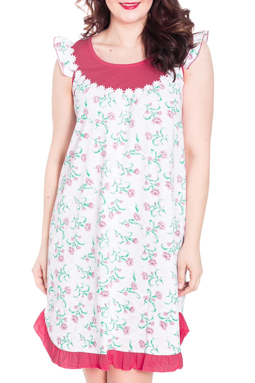 Ночная сорочкаНочные сорочки<br>Домашняя одежда, прежде всего, должна быть удобной, практичной и красивой. В такой ночной сорочке Вы будете чувствовать себя комфортно, особенно, по вечерам после трудового дня. Цвет: белый, розовый, зеленый.  Рост девушки-фотомодели 180 см<br><br>Горловина: С- горловина<br>По рисунку: Растительные мотивы,Цветные,Цветочные,С принтом<br>По силуэту: Свободные<br>По форме: Сорочки<br>По элементам: С фигурным низом,С воланами и рюшами<br>По сезону: Всесезон<br>По длине: До колена<br>По материалу: Трикотаж,Хлопок<br>По стилю: Повседневный стиль<br>Размер : 50<br>Материал: Хлопок<br>Количество в наличии: 1