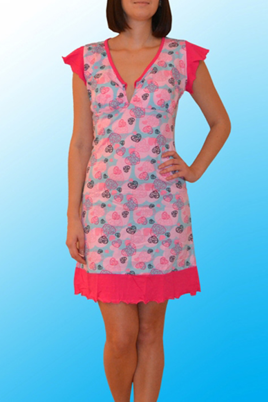 СорочкаНочные сорочки<br>Хлопковая ночная сорочка. Домашняя одежда, прежде всего, должна быть удобной, практичной и красивой. В нашей домашней одежде Вы будете чувствовать себя комфортно, особенно, по вечерам после трудового дня.  Цвет: розовый, голубой  Ростовка изделия 170 см.<br><br>Горловина: V- горловина,С- горловина<br>По рисунку: Цветные,С принтом<br>По силуэту: Приталенные<br>По форме: Сорочки<br>По сезону: Всесезон<br>По длине: До колена<br>По материалу: Хлопок<br>По стилю: Повседневный стиль<br>Размер : 46,48,50<br>Материал: Хлопок<br>Количество в наличии: 3