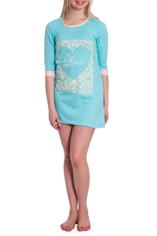 СорочкаНочные сорочки<br>Ночная сорочка с рукавами 3/4. Домашняя одежда, прежде всего, должна быть удобной, практичной и красивой. В наших изделиях Вы будете чувствовать себя комфортно, особенно, по вечерам после трудового дня.  В изделии использованы цвета: голубой и др.  Рост девушки-фотомодели 170 см.<br><br>Горловина: С- горловина<br>По длине: До колена<br>По материалу: Трикотаж,Хлопок<br>По рисунку: С принтом,Цветные<br>По силуэту: Свободные<br>По стилю: Повседневный стиль<br>По форме: Сорочки<br>По сезону: Всесезон<br>Размер : 44,46,48<br>Материал: Трикотаж<br>Количество в наличии: 3