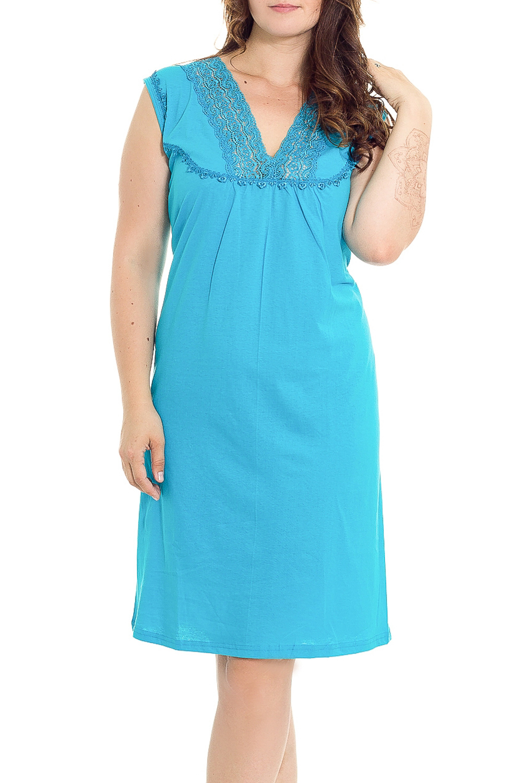 Ночная сорочкаНочные сорочки<br>Удобная хлопковая сорочка. Домашняя одежда, прежде всего, должна быть удобной, практичной и красивой. В нашей домашней одежде Вы будете чувствовать себя комфортно, особенно, по вечерам после трудового дня.  Цвет: голубой  Рост девушки-фотомодели 180 см.<br><br>Горловина: V- горловина<br>По материалу: Трикотажные,Хлопковые<br>По рисунку: Однотонные<br>По силуэту: Приталенные<br>По стилю: Повседневные<br>По форме: Сорочки<br>По элементам: Без рукавов,С декором<br>По сезону: Всесезон<br>Размер : 46,48,50,52<br>Материал: Хлопок<br>Количество в наличии: 2