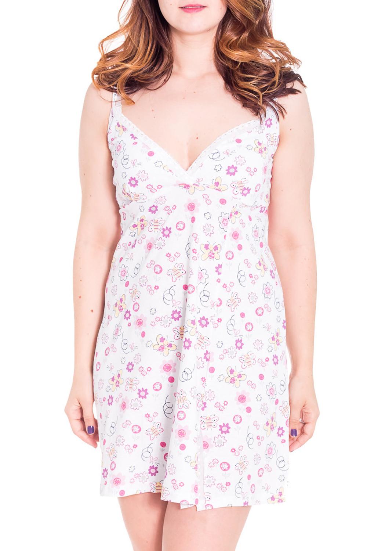 СорочкаНочные сорочки<br>Женская сорочка с коротким рукавом. Домашняя одежда, прежде всего, должна быть удобной, практичной и красивой. В сорочке Вы будете чувствовать себя комфортно, особенно, по вечерам после трудового дня.  Цвет: белый с розовым  Рост девушки-фотомодели 180 см<br><br>Горловина: V- горловина<br>По рисунку: Цветные,С принтом<br>По силуэту: Свободные<br>По форме: Сорочки<br>По сезону: Осень,Весна<br>По длине: До колена<br>По материалу: Хлопок<br>По стилю: Повседневный стиль<br>Размер : 46<br>Материал: Хлопок<br>Количество в наличии: 1