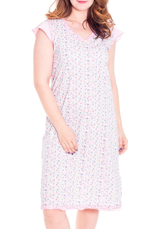 СорочкаНочные сорочки<br>Женская сорочка с коротким рукавом. Домашняя одежда, прежде всего, должна быть удобной, практичной и красивой. В сорочке Вы будете чувствовать себя комфортно, особенно, по вечерам после трудового дня.  Цвет: белый с розовым  Рост девушки-фотомодели 180 см<br><br>Горловина: V- горловина<br>По рисунку: Цветные,С принтом<br>По силуэту: Свободные<br>По форме: Сорочки<br>По сезону: Всесезон<br>По длине: До колена<br>По материалу: Хлопок<br>По стилю: Повседневный стиль<br>По элементам: С воланами и рюшами<br>Размер : 50<br>Материал: Хлопок<br>Количество в наличии: 1