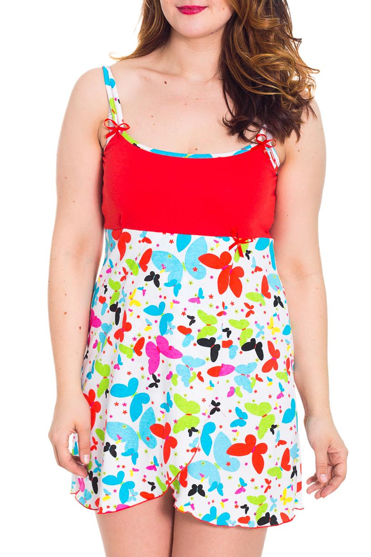 СорочкаНочные сорочки<br>Женская сорочка без рукавов. Домашняя одежда, прежде всего, должна быть удобной, практичной и красивой. В сорочке Вы будете чувствовать себя комфортно, особенно, по вечерам после трудового дня.  Цвет: белый, красный, мультицвет  Рост девушки-фотомодели 180 см<br><br>По рисунку: Бабочки,Цветные<br>По силуэту: Свободные<br>По форме: Сорочки<br>По сезону: Лето<br>По материалу: Трикотаж,Хлопок<br>По стилю: Повседневный стиль<br>Размер : 46,48<br>Материал: Трикотаж<br>Количество в наличии: 2