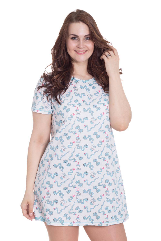 СорочкаНочные сорочки<br>Замечательная женская ночная сорочка с короткими рукавами из приятного хлопка.  Цвет: белый, голубой  Рост девушки-фотомодели 180 см.<br><br>По стилю: Повседневные<br>По материалу: Хлопковые<br>По рисунку: С принтом (печатью),Цветные<br>По сезону: Всесезон<br>По силуэту: Приталенные<br>По длине: Миди<br>Горловина: С- горловина<br>Размер: 48,50,56,62<br>Материал: 100% хлопок<br>Количество в наличии: 4
