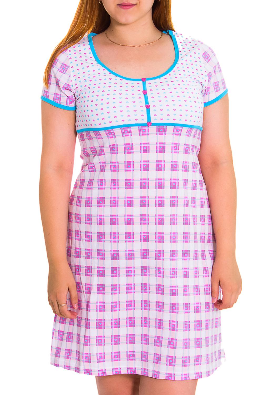 СорочкаНочные сорочки<br>Домашняя одежда, прежде всего, должна быть удобной, практичной и красивой. В нашей домашней одежде Вы будете чувствовать себя комфортно, особенно, по вечерам после трудового дня.  Цвет: белый, розовый, голубой  Рост девушки-фотомодели - 169 см<br><br>Горловина: С- горловина<br>По рисунку: Цветные,С принтом<br>По форме: Сорочки<br>По сезону: Осень,Весна<br>По длине: До колена<br>По стилю: Повседневный стиль<br>Размер : 46,48<br>Материал: Хлопок<br>Количество в наличии: 10