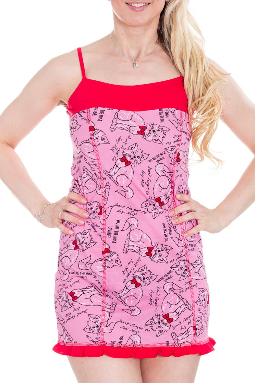 СорочкаНочные сорочки<br>Женская сорочка без рукавов. Домашняя одежда, прежде всего, должна быть удобной, практичной и красивой. В сорочке Вы будете чувствовать себя комфортно, особенно, по вечерам после трудового дня.  Цвет: розовый, красный  Рост девушки-фотомодели 170 см<br><br>По рисунку: Цветные,Животные мотивы,Мультипликация,С принтом,Фактурный рисунок<br>По форме: Сорочки<br>По элементам: Без рукавов<br>По сезону: Всесезон<br>По материалу: Хлопок<br>По стилю: Повседневный стиль<br>Размер : 42,44,46,48,50<br>Материал: Хлопок<br>Количество в наличии: 5