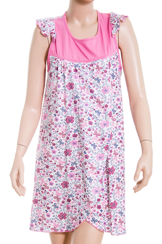 СорочкаНочные сорочки<br>Ночная сорочка без рукавов. Домашняя одежда, прежде всего, должна быть удобной, практичной и красивой. В сорочке Вы будете чувствовать себя комфортно, особенно, по вечерам после трудового дня.  В изделии использованы цвета: розовый, белый и др.  Ростовка изделия 170 см.<br><br>Горловина: С- горловина<br>По рисунку: Цветные,Цветочные,С принтом<br>По форме: Сорочки<br>По элементам: Без рукавов<br>По сезону: Всесезон<br>По материалу: Трикотаж,Хлопок<br>По стилю: Повседневный стиль<br>Размер : 48<br>Материал: Трикотаж<br>Количество в наличии: 1