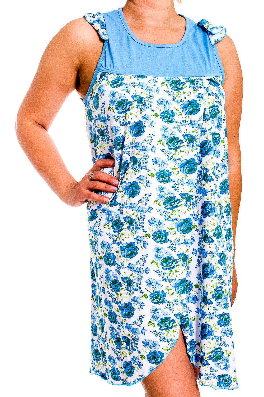 СорочкаНочные сорочки<br>Ночная сорочка без рукавов. Домашняя одежда, прежде всего, должна быть удобной, практичной и красивой. В сорочке Вы будете чувствовать себя комфортно, особенно, по вечерам после трудового дня.  В изделии использованы цвета: голубой, белый.  Рост девушки-фотомодели 170 см.<br><br>Горловина: С- горловина<br>По рисунку: Цветные,Цветочные,С принтом<br>По форме: Сорочки<br>По элементам: С разрезом<br>По сезону: Всесезон<br>По материалу: Трикотаж<br>По стилю: Повседневный стиль<br>Размер : 46<br>Материал: Трикотаж<br>Количество в наличии: 1