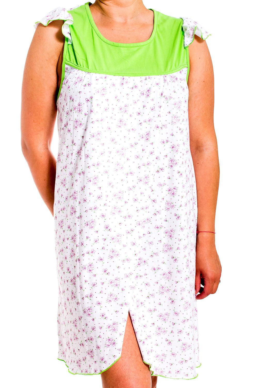 СорочкаНочные сорочки<br>Ночная сорочка без рукавов. Домашняя одежда, прежде всего, должна быть удобной, практичной и красивой. В сорочке Вы будете чувствовать себя комфортно, особенно, по вечерам после трудового дня.  В изделии использованы цвета: белый, салатовый, розовый  Рост девушки-фотомодели 170 см.<br><br>Горловина: С- горловина<br>По рисунку: Цветные,Цветочные,С принтом<br>По форме: Сорочки<br>По элементам: С разрезом<br>По сезону: Всесезон<br>По материалу: Трикотаж<br>По стилю: Повседневный стиль<br>Размер : 52<br>Материал: Трикотаж<br>Количество в наличии: 1