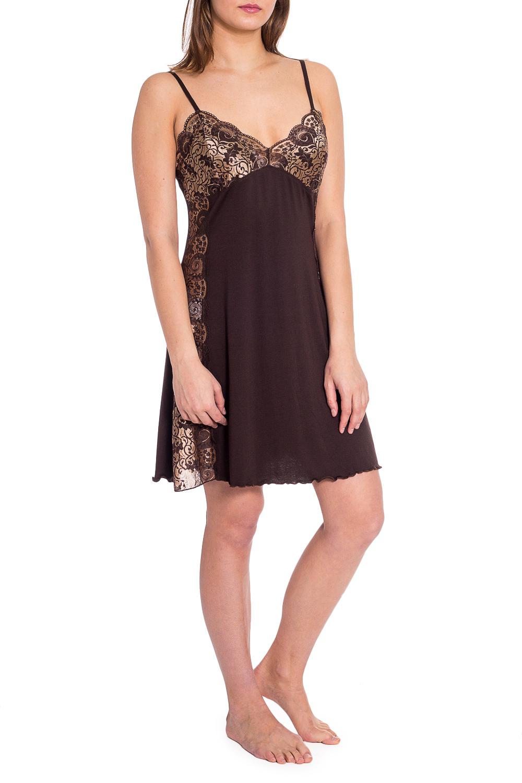 СорочкаНочные сорочки<br>Великолепная ночная сорочка из нежной ткани с декором из гипюра.  В изделии использованы цвета: коричневый, бежевый  Рост девушки-фотомодели 173 см.<br><br>Горловина: V- горловина<br>По материалу: Вискоза,Гипюр<br>По рисунку: Однотонные<br>По стилю: Повседневный стиль<br>По форме: Сорочки<br>По элементам: С декором<br>По сезону: Всесезон<br>Размер : 48<br>Материал: Вискоза + Гипюр<br>Количество в наличии: 1