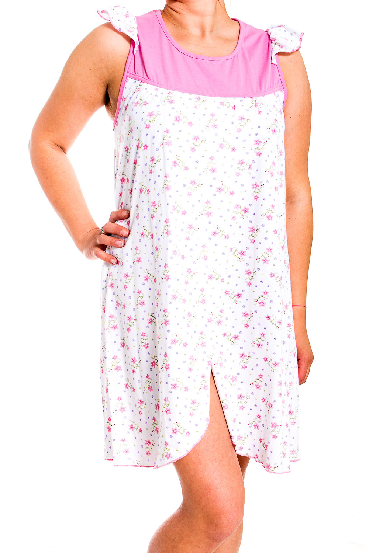 СорочкаНочные сорочки<br>Ночная сорочка без рукавов. Домашняя одежда, прежде всего, должна быть удобной, практичной и красивой. В сорочке Вы будете чувствовать себя комфортно, особенно, по вечерам после трудового дня.  В изделии использованы цвета: белый, розовый.  Рост девушки-фотомодели 170 см.<br><br>Горловина: С- горловина<br>По рисунку: Цветные,Цветочные,С принтом<br>По форме: Сорочки<br>По элементам: Без рукавов,С разрезом<br>По сезону: Всесезон<br>По материалу: Трикотаж<br>По стилю: Повседневный стиль<br>Размер : 50<br>Материал: Трикотаж<br>Количество в наличии: 1