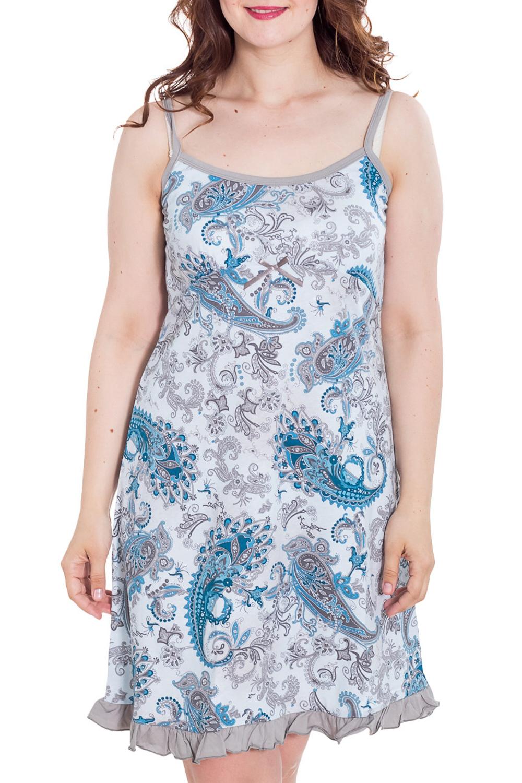 СорочкаНочные сорочки<br>Ночная сорочка на бретелях Домашняя одежда, прежде всего, должна быть удобной, практичной и красивой. В сорочке Вы будете чувствовать себя комфортно, особенно, по вечерам после трудового дня.  Цвет: серый, голубой  Рост девушки-фотомодели 180 см<br><br>По рисунку: Этнические,Растительные мотивы,Цветные,С принтом<br>По форме: Сорочки<br>По сезону: Всесезон<br>По силуэту: Приталенные<br>По длине: До колена<br>По материалу: Трикотаж,Хлопок<br>По стилю: Повседневный стиль<br>Размер : 50,52,54<br>Материал: Трикотаж<br>Количество в наличии: 3