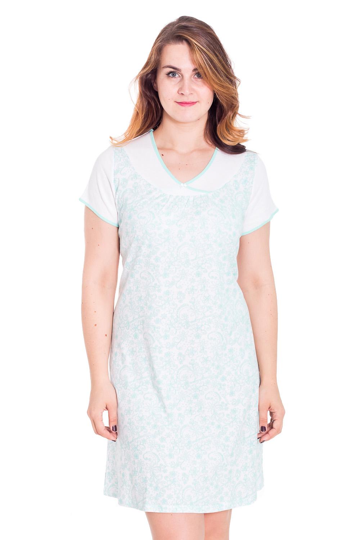СорочкаНочные сорочки<br>Хлопковая сорочка с короткими рукавами. Домашняя одежда, прежде всего, должна быть удобной, практичной и красивой. В платье Вы будете чувствовать себя комфортно, особенно, по вечерам после трудового дня.  Цвет: белый, голубой  Рост девушки-фотомодели 180 см<br><br>По стилю: Повседневные,Романтические<br>По материалу: Вискоза,Трикотажные<br>По рисунку: Цветные,Цветочные,Растительные мотивы<br>По сезону: Осень,Весна<br>По форме: Сорочки<br>По длине: Миди<br>Горловина: V- горловина<br>Размер: 56<br>Материал: 97% вискоза 3% лайкра<br>Количество в наличии: 8
