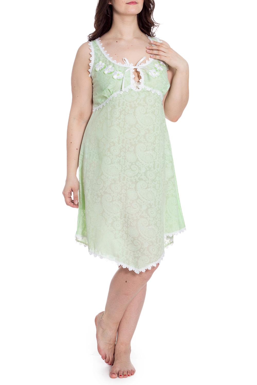 СорочкаНочные сорочки<br>Сорочка полуприлегающего силуэта, длиной чуть ниже колена. Сорочка отрезная под грудью, V-образный вырез горловины заканчивается завязками из атласной ленты. Кокетки переда декорированы кружевными элементами. Низ сорочки, проймы, срезы горловины сорочки обработан кружевом.  В изделии использованы цвета: зеленый, белый  Рост девушки-фотомодели 180 см.<br><br>Горловина: С- горловина<br>По длине: Ниже колена<br>По материалу: Хлопок<br>По рисунку: Однотонные<br>По силуэту: Приталенные<br>По стилю: Повседневный стиль<br>По форме: Сорочки<br>По элементам: С декором,С фигурным низом<br>По сезону: Всесезон<br>Размер : 50<br>Материал: Хлопок<br>Количество в наличии: 1