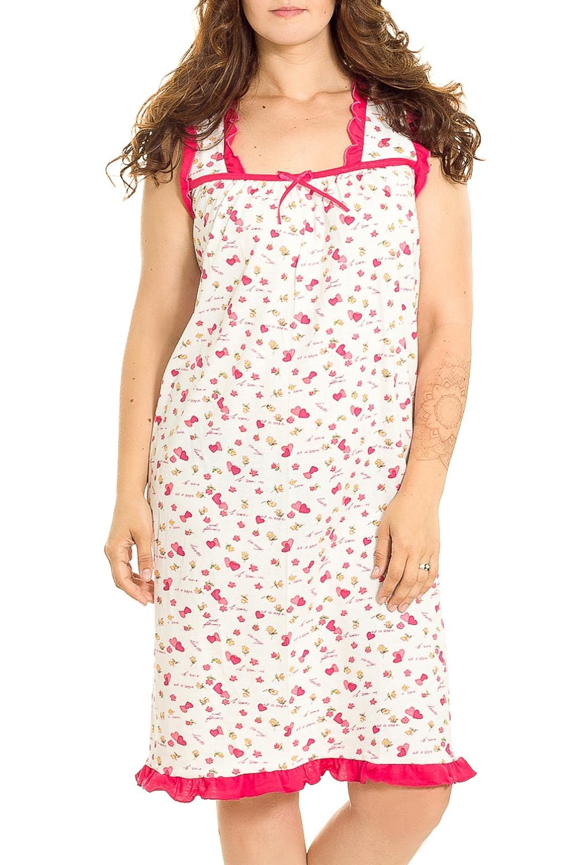 Ночная сорочкаНочные сорочки<br>Эффектная хлопковая сорочка. Домашняя одежда, прежде всего, должна быть удобной, практичной и красивой. В нашей домашней одежде Вы будете чувствовать себя комфортно, особенно, по вечерам после трудового дня.  В изделии использованы цвета: белый, розовый и др.  Рост девушки-фотомодели 180 см.<br><br>По рисунку: Растительные мотивы,Цветные,Цветочные,С принтом<br>По силуэту: Приталенные<br>По форме: Сорочки<br>По элементам: С разрезом<br>По сезону: Всесезон<br>По длине: До колена<br>По материалу: Хлопок<br>По стилю: Повседневный стиль<br>Размер : 46,48,50<br>Материал: Хлопок<br>Количество в наличии: 3