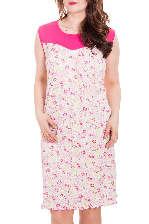 Ночная сорочкаНочные сорочки<br>Ночная сорочка с без рукавов. Домашняя одежда, прежде всего, должна быть удобной, практичной и красивой. В сорочке Вы будете чувствовать себя комфортно, особенно, по вечерам после трудового дня.  Цвет: белый, розовый.  Рост девушки-фотомодели 180 см<br><br>Горловина: С- горловина<br>По рисунку: Растительные мотивы,Цветные,С принтом<br>По форме: Сорочки<br>По элементам: Без рукавов<br>По сезону: Всесезон<br>По материалу: Трикотаж,Хлопок<br>Размер : 48,52,54,56,58,62<br>Материал: Трикотаж<br>Количество в наличии: 8