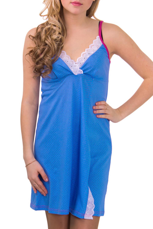 СорочкаНочные сорочки<br>Женская сорочка без рукавов. Домашняя одежда, прежде всего, должна быть удобной, практичной и красивой. В сорочке Вы будете чувствовать себя комфортно, особенно, по вечерам после трудового дня.  Цвет: голубой  Рост девушки-фотомодели 164 см<br><br>Горловина: V- горловина<br>По силуэту: Свободные<br>По форме: Сорочки<br>По элементам: Без рукавов,С декором,С разрезом<br>По сезону: Лето<br>По длине: До колена<br>По материалу: Хлопок<br>По стилю: Повседневный стиль<br>По рисунку: В горошек,С принтом,Цветные<br>Размер : 42,50<br>Материал: Хлопок<br>Количество в наличии: 2