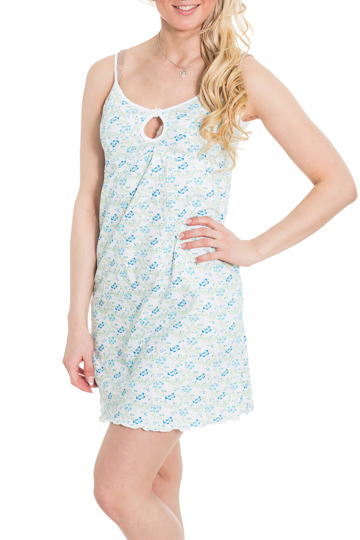 Сорочка платье oodji ultra цвет белый голубой 11900150 5m 13632 1270e размер 38 170 44 170