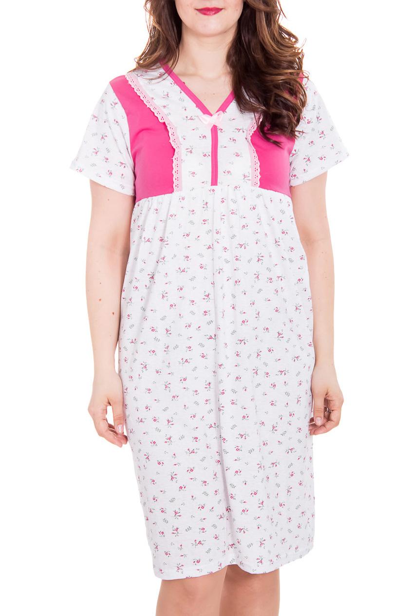Ночная сорочкаНочные сорочки<br>Ночная сорочка с короткими рукавами. Домашняя одежда, прежде всего, должна быть удобной, практичной и красивой. В сорочке Вы будете чувствовать себя комфортно, особенно, по вечерам после трудового дня.  Цвет: белый, розовый.  Рост девушки-фотомодели 180 см<br><br>Горловина: V- горловина<br>По рисунку: Растительные мотивы,Цветные,С принтом<br>По форме: Сорочки<br>По сезону: Всесезон<br>По материалу: Трикотаж,Хлопок<br>Размер : 52<br>Материал: Трикотаж<br>Количество в наличии: 1