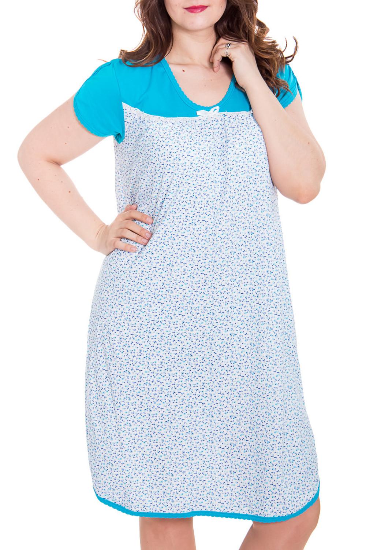 Ночная сорочкаНочные сорочки<br>Ночная сорочка с короткими рукавами. Домашняя одежда, прежде всего, должна быть удобной, практичной и красивой. В сорочке Вы будете чувствовать себя комфортно, особенно, по вечерам после трудового дня.  Цвет: белый, голубой.  Рост девушки-фотомодели 180 см<br><br>Горловина: С- горловина<br>По рисунку: Растительные мотивы,Цветные,С принтом<br>По форме: Сорочки<br>По сезону: Всесезон<br>По материалу: Трикотаж,Хлопок<br>Размер : 50,56<br>Материал: Трикотаж<br>Количество в наличии: 2