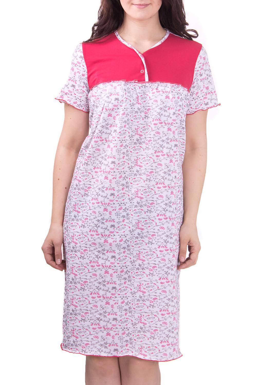 СорочкаНочные сорочки<br>Женская сорочка с коротким рукавом. Домашняя одежда, прежде всего, должна быть удобной, практичной и красивой. В сорочке Вы будете чувствовать себя комфортно, особенно, по вечерам после трудового дня.  Цвет: белый с малиновым  Рост девушки-фотомодели 180 см<br><br>Горловина: С- горловина<br>По рисунку: Растительные мотивы,Цветные,Цветочные,С принтом<br>По силуэту: Свободные<br>По форме: Сорочки<br>По сезону: Осень,Весна<br>По длине: До колена<br>По материалу: Хлопок<br>По стилю: Повседневный стиль<br>Размер : 50,56,58<br>Материал: Хлопок<br>Количество в наличии: 6