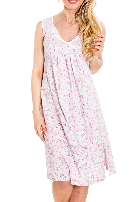СорочкаОдежда для дома<br>Сорочка выполнена из эластичного трикотажного полотна. Горловина V-образной формы на запах. Удобна для кормления.  За счет свободного кроя и эластичного материала изделие можно носить во время беременности.  Цвет: белый, розовый  Рост девушки-фотомодели 170 см.<br><br>По сезону: Всесезон<br>Размер : 42,44,46<br>Материал: Хлопок<br>Количество в наличии: 3
