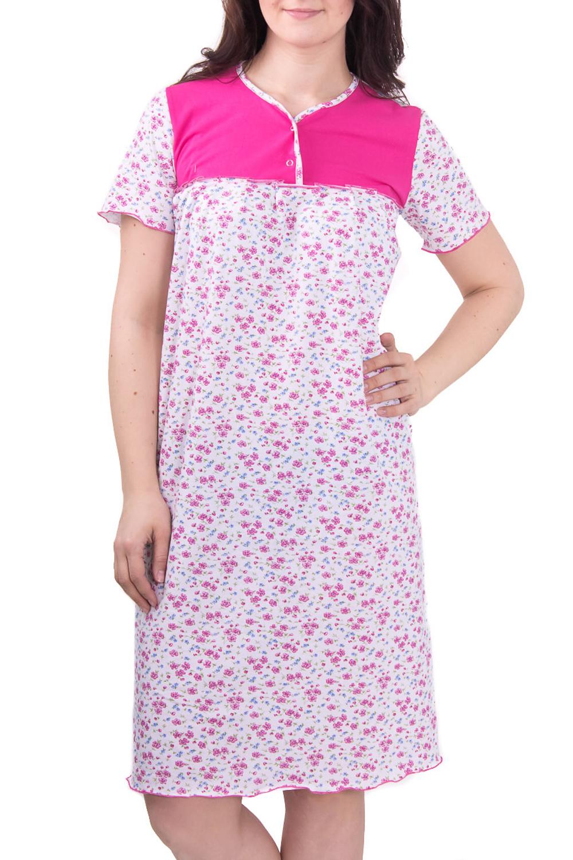 СорочкаНочные сорочки<br>Женская сорочка с коротким рукавом. Домашняя одежда, прежде всего, должна быть удобной, практичной и красивой. В сорочке Вы будете чувствовать себя комфортно, особенно, по вечерам после трудового дня.  Цвет: белый с розовым  Рост девушки-фотомодели 180 см<br><br>Горловина: С- горловина<br>По рисунку: Растительные мотивы,Цветные,Цветочные,С принтом<br>По силуэту: Свободные<br>По форме: Сорочки<br>По сезону: Осень,Весна<br>По длине: До колена<br>По материалу: Хлопок<br>По стилю: Повседневный стиль<br>Размер : 48,60<br>Материал: Хлопок<br>Количество в наличии: 2