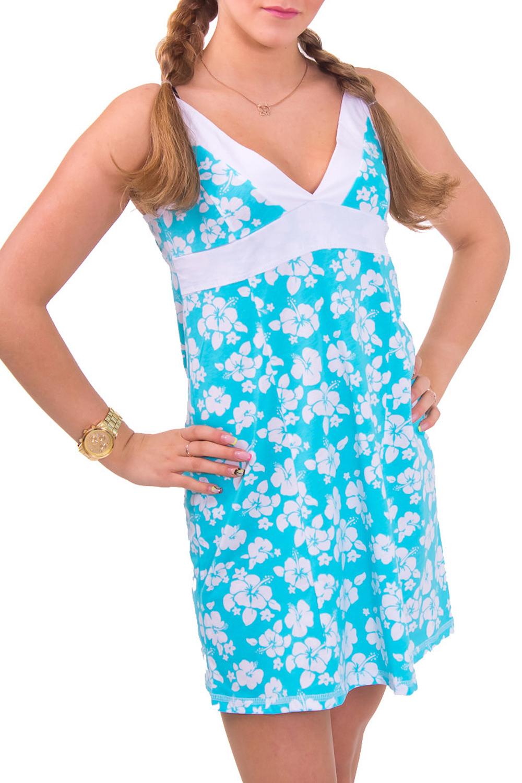СорочкаНочные сорочки<br>Женская сорочка без рукавов. Домашняя одежда, прежде всего, должна быть удобной, практичной и красивой. В сорочке Вы будете чувствовать себя комфортно, особенно, по вечерам после трудового дня.  Цвет: белый с голубым  Рост девушки-фотомодели 164 см<br><br>Горловина: V- горловина<br>По рисунку: Растительные мотивы,Цветные,Цветочные,С принтом<br>По силуэту: Свободные<br>По форме: Сорочки<br>По сезону: Лето<br>По длине: До колена<br>По материалу: Хлопок<br>По стилю: Молодежный стиль,Повседневный стиль<br>Размер : 42,44<br>Материал: Хлопок<br>Количество в наличии: 2