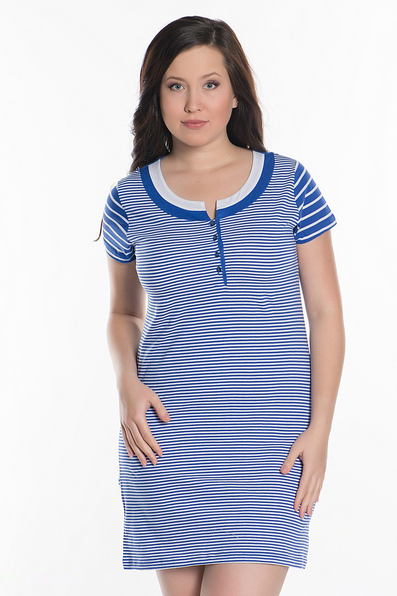 Ночная сорочкаНочные сорочки<br>Замечательная женская ночная сорочка с круглой горловиной и короткими рукавами. Модель выполнена из приятного хлопкового материала.  Цвет: белый, голубой  Рост девушки-фотомодели 172 см<br><br>Горловина: С- горловина<br>По длине: Миди<br>По материалу: Хлопковые<br>По размеру: Большие размеры<br>По рисунку: В полоску,Цветные<br>По стилю: Возрастные,Молодежные,Повседневные<br>По форме: Сорочки<br>По сезону: Всесезон<br>Размер : 54,56<br>Материал: Хлопок<br>Количество в наличии: 1