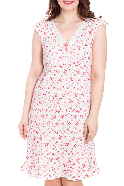 СорочкаНочные сорочки<br>Легкая ночная сорочка из хлопка для прекрасных дам.  Цвет: белый, розовый  Рост девушки-фотомодели 180 см<br><br>Горловина: V- горловина<br>По рисунку: Растительные мотивы,Цветные,Цветочные,С принтом<br>По силуэту: Приталенные<br>По форме: Сорочки<br>По сезону: Всесезон<br>По длине: До колена<br>По материалу: Хлопок<br>По стилю: Повседневный стиль<br>Размер : 48,52,54,56<br>Материал: Хлопок<br>Количество в наличии: 7