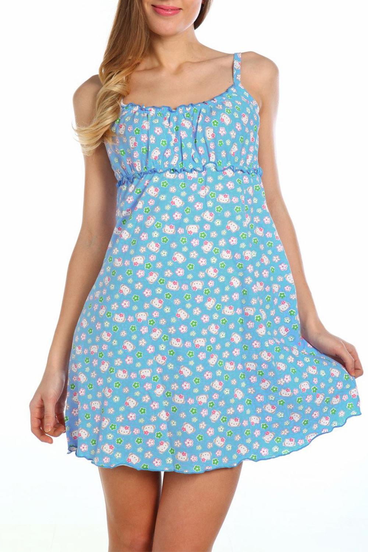 СорочкаНочные сорочки<br>Очаровательная женская ночная сорочка в милый мелкий цветочек.  Цвет: сиренево-голубой.  Рост девушки-фотомодели 170 см<br><br>Горловина: С- горловина<br>По рисунку: Растительные мотивы,Цветные,Цветочные,С принтом<br>По силуэту: Свободные<br>По форме: Сорочки<br>По элементам: Без рукавов<br>По сезону: Всесезон<br>По материалу: Хлопок<br>Размер : 42<br>Материал: Хлопок<br>Количество в наличии: 1