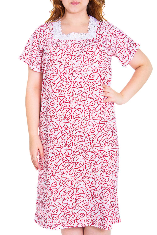 СорочкаНочные сорочки<br>Мягкая хлопковая сорочка с короткими рукавами. Домашняя одежда, прежде всего, должна быть удобной, практичной и красивой. В сорочке Вы будете чувствовать себя комфортно, особенно, по вечерам после трудового дня.  Цвет: белый, розовый  Рост девушки-фотомодели 169 см.<br><br>По рисунку: Абстракция,Цветные<br>По силуэту: Свободные<br>По сезону: Всесезон<br>По длине: До колена<br>По материалу: Хлопок<br>По стилю: Молодежный стиль,Повседневный стиль<br>Размер : 50<br>Материал: Хлопок<br>Количество в наличии: 1