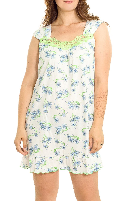 Ночная сорочкаНочные сорочки<br>Удобная хлопковая сорочка. Домашняя одежда, прежде всего, должна быть удобной, практичной и красивой. В нашей домашней одежде Вы будете чувствовать себя комфортно, особенно, по вечерам после трудового дня.  В изделии использованы цвета: белый, голубой, зеленый  Рост девушки-фотомодели 180 см.<br><br>По рисунку: Цветные,С принтом<br>По силуэту: Приталенные<br>По форме: Сорочки<br>По элементам: Без рукавов<br>По сезону: Всесезон<br>По длине: До колена<br>По материалу: Хлопок<br>По стилю: Повседневный стиль<br>Размер : 46,48,50,52<br>Материал: Хлопок<br>Количество в наличии: 4