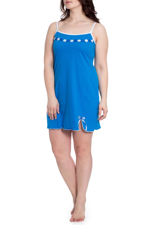 СорочкаНочные сорочки<br>Ночная сорочка на тонких бретелях. Домашняя одежда, прежде всего, должна быть удобной, практичной и красивой. В наших изделиях Вы будете чувствовать себя комфортно, особенно, по вечерам после трудового дня.  В изделии использованы цвета: сине-голубой, белый  Рост девушки-фотомодели 180 см.<br><br>По длине: До колена<br>По материалу: Трикотаж,Хлопок<br>По рисунку: Однотонные<br>По силуэту: Свободные<br>По стилю: Повседневный стиль<br>По форме: Сорочки<br>По элементам: С декором<br>По сезону: Всесезон<br>Размер : 52,54<br>Материал: Трикотаж<br>Количество в наличии: 2