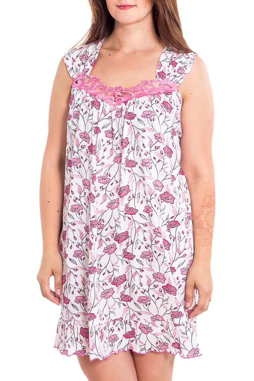 Ночная сорочкаНочные сорочки<br>Качественная ночная сорочка без рукавов. Домашняя одежда, прежде всего, должна быть удобной, практичной и красивой. В наших изделиях Вы будете чувствовать себя комфортно, особенно, по вечерам после трудового дня.  В изделии использованы цвета: белый, розовый  Рост девушки-фотомодели 180 см<br><br>По рисунку: Растительные мотивы,Цветные,Цветочные,С принтом<br>По форме: Сорочки<br>По элементам: Без рукавов<br>По сезону: Всесезон<br>По силуэту: Свободные<br>По длине: До колена<br>По материалу: Хлопок<br>По стилю: Повседневный стиль<br>Размер : 48,50<br>Материал: Хлопок<br>Количество в наличии: 2