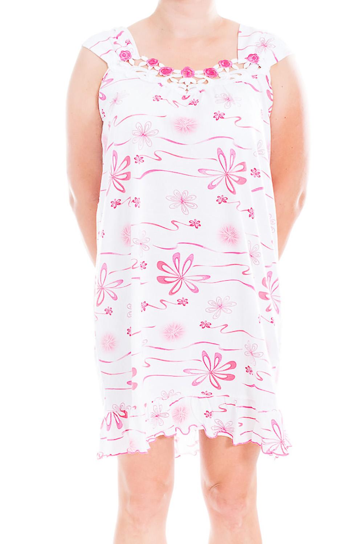 Ночная сорочкаНочные сорочки<br>Качественная ночная сорочка без рукавов. Домашняя одежда, прежде всего, должна быть удобной, практичной и красивой. В наших изделиях Вы будете чувствовать себя комфортно, особенно, по вечерам после трудового дня.  В изделии использованы цвета: белый, розовый  Ростовка изделия 170 см<br><br>По рисунку: Растительные мотивы,Цветные,Цветочные,С принтом<br>По силуэту: Свободные<br>По форме: Сорочки<br>По элементам: Без рукавов<br>По сезону: Всесезон<br>По длине: До колена<br>По материалу: Хлопок<br>По стилю: Повседневный стиль<br>Размер : 46<br>Материал: Хлопок<br>Количество в наличии: 1