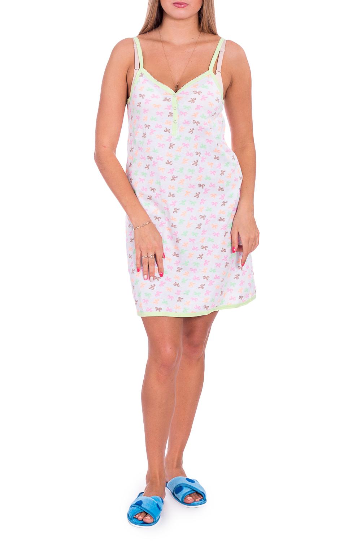 СорочкаНочные сорочки<br>Хлопковая ночная сорочка. Домашняя одежда, прежде всего, должна быть удобной, практичной и красивой. В наших изделиях Вы будете чувствовать себя комфортно, особенно, по вечерам после трудового дня.  В изделии использованы цвета: белый, зеленый, розовый и др.  Рост девушки-фотомодели 170 см<br><br>По длине: До колена<br>По материалу: Трикотаж,Хлопок<br>По рисунку: С принтом,Цветные<br>По силуэту: Свободные<br>По стилю: Повседневный стиль<br>По форме: Сорочки<br>По сезону: Всесезон<br>Размер : 42,48<br>Материал: Трикотаж<br>Количество в наличии: 2