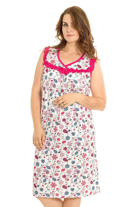 Ночная сорочкаНочные сорочки<br>Удобная хлопковая сорочка. Домашняя одежда, прежде всего, должна быть удобной, практичной и красивой. В нашей домашней одежде Вы будете чувствовать себя комфортно, особенно, по вечерам после трудового дня.  В изделии использованы цвета: белый, розовый, голубой  Рост девушки-фотомодели 180 см.<br><br>Горловина: V- горловина<br>По рисунку: Цветные,С принтом<br>По силуэту: Приталенные<br>По форме: Сорочки<br>По элементам: Без рукавов<br>По сезону: Всесезон<br>По длине: До колена<br>По материалу: Хлопок<br>По стилю: Повседневный стиль<br>Размер : 52,54,56,58<br>Материал: Хлопок<br>Количество в наличии: 1