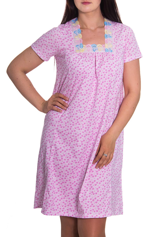 СорочкаНочные сорочки<br>Домашняя одежда, прежде всего, должна быть удобной, практичной и красивой. В ночной сорочке Вы будете чувствовать себя комфортно, особенно, по вечерам после трудового дня.  Цвет: розовый  Рост девушки-фотомодели 180 см<br><br>По рисунку: Растительные мотивы,Цветные,Цветочные,С принтом<br>По форме: Сорочки<br>По сезону: Всесезон<br>По длине: До колена<br>По материалу: Хлопок<br>По стилю: Повседневный стиль<br>По элементам: С декором<br>Размер : 48<br>Материал: Хлопок<br>Количество в наличии: 2
