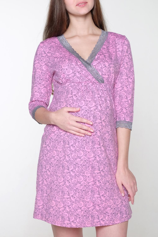 СорочкаОдежда для дома<br>Сорочка выполнена из хлопкового полотна. Горловина V-образной формы на запах. Удобна для кормления.  За счет свободного кроя и эластичного материала изделие можно носить во время беременности  В изделии использованы цвета: розовый, серый  Ростовка изделия 170 см.<br><br>Горловина: V- горловина,Запах<br>По длине: До колена<br>По рисунку: С принтом,Цветные<br>По силуэту: Приталенные<br>По элементам: С завышенной талией<br>Рукав: Рукав три четверти<br>По сезону: Всесезон<br>Размер : 42,44,46,48,50<br>Материал: Трикотаж<br>Количество в наличии: 5