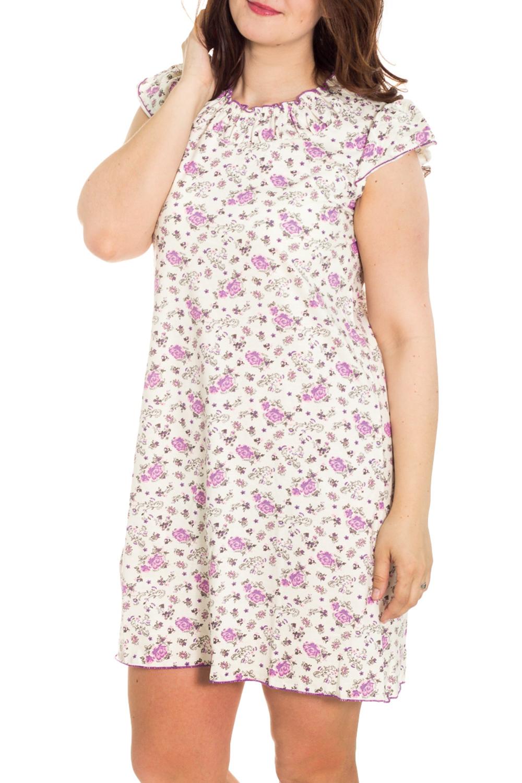 СорочкаНочные сорочки<br>Качественная ночная сорочка. Домашняя одежда, прежде всего, должна быть удобной, практичной и красивой. В наших изделиях Вы будете чувствовать себя комфортно, особенно, по вечерам после трудового дня.  Цвет: сиреневый, белый  Рост девушки-фотомодели 180 см<br><br>Горловина: С- горловина<br>По рисунку: Растительные мотивы,Цветные,Цветочные,С принтом<br>По силуэту: Приталенные<br>По форме: Сорочки<br>По сезону: Всесезон<br>По длине: До колена<br>По материалу: Хлопок<br>По стилю: Повседневный стиль<br>Размер : 48,52<br>Материал: Хлопок<br>Количество в наличии: 4